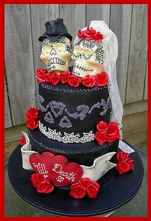 'Till Death ~ Gothic Skulls Wedding Cake - Cake by Mel_SugarandSpiceCakes