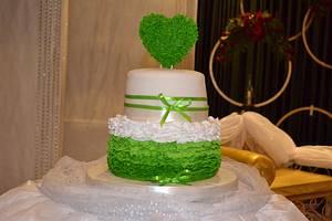 pretty green engagement cake - Cake by Sheela