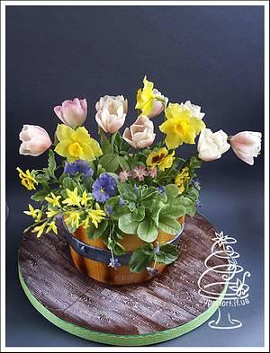 Bucket of spring flowers - Cake by Uliana Kotsaba