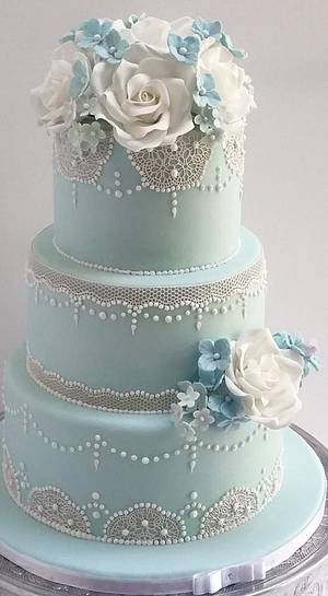 Pale blue Lace wedding cake - Cake by Scrummy Mummy's Cakes