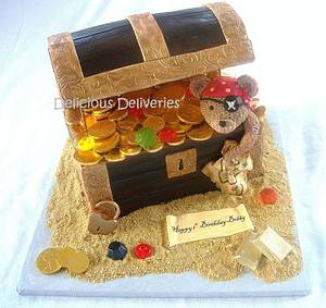 Pirate Teddy Treasure Chest Cake - Cake by DeliciousDeliveries