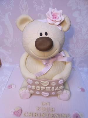 Teddy Bear Christening Cake..x. - Cake by Lulu Belles Cupcake Creations