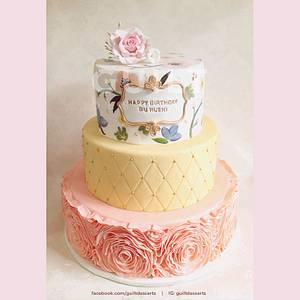 Handpainted Ruffle Cake - Cake by Guilt Desserts