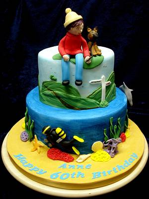 Scuba Diver/Dog Walker - Cake by Alison Inglis