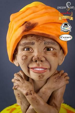 Bangladeshi Child - Magnificent Bangladesh - An International Cake Art Collaboration - Cake by Pepper Posh - Carla Rodrigues