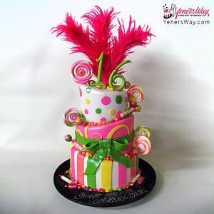 Colorful Sweet 16 Cake - Cake by Serdar Yener   Yeners Way - Cake Art Tutorials