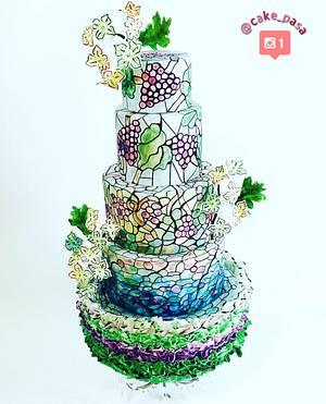 Vineyard Theme Stained Glass Wedding Cake  - Cake by Cake_pasa