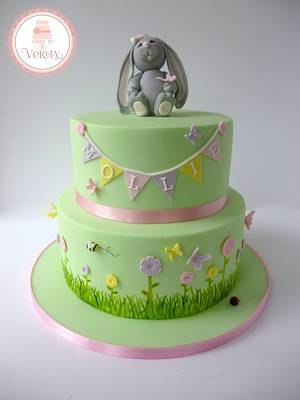 Bunny Christening cake.. - Cake by Cakes by Verity