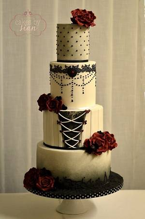 Gothic Inspired Wedding Cake for CI - Cake by Cakes by Sian