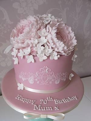 Pretty Pink Peony Cake....x. - Cake by Lulu Belles Cupcake Creations