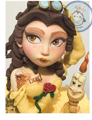 Steampunk Belle Princess and lumiere - Cake by DixieDelight by Lusie Lioe