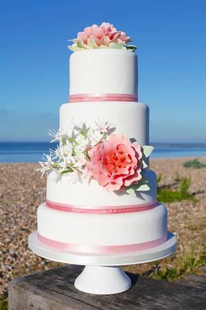 Stargazer wedding cake - beach wedding photos - Cake by Kasserina Cakes