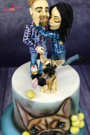 French bulldog and  family - Cake by crazycakes