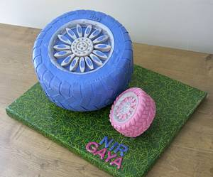 """A Dad and Daughter """"Tire Cake"""" - Cake by The Garden Baker"""