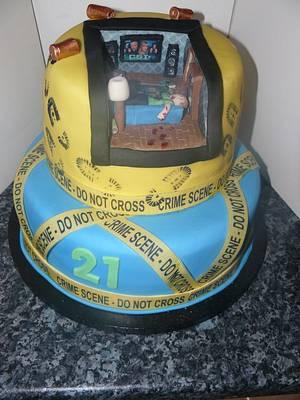 CSI Crime Scene Cake  - Cake by Krazy Kupcakes