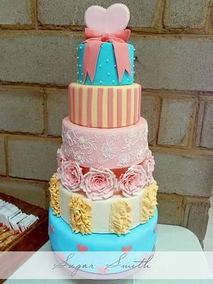 Modern Vintage Wedding cake - Cake by liesel