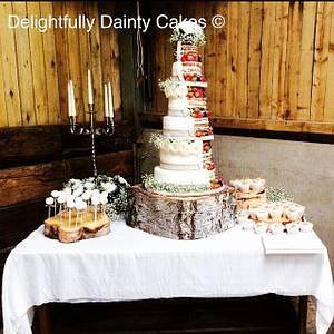 Half naked wedding cake - Cake by Aimee @ Delightfully Dainty Cakes