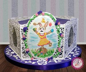 A Filigree Easter - A Painted Easter Collaboration Cake - Cake by Becca's Edible Art