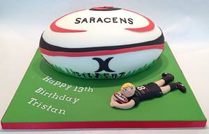 Saracens Rugby Ball  - Cake by Jackie's Cakery
