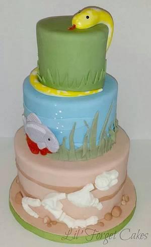 Snake, Piranha, T-Rex - Cake by lilforgetcakes