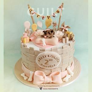 Cute Puppy Birthday Cake - Cake by Guilt Desserts