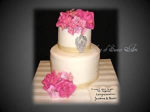 Roses Hydrangeas & Bling Wedding - Cake by Slice of Sweet Art
