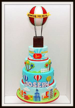 Hot Air Balloon First Birthday Cake - Cake by Marjorie