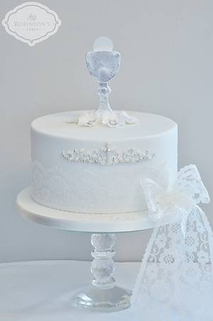 White & silver girl's First Holy Communion cake - Cake by Mrs Robinson's Cakes