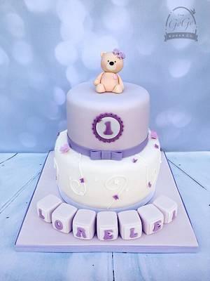 1st birthday teddy cake - Cake by Natasha Thomas