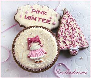 Pink Winter cookies - Cake by Evelindecora