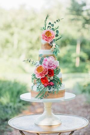 Bohemian Sugar Flower Wedding Cake I Boho Wedding Cake - Cake by Alex Narramore (The Mischief Maker)