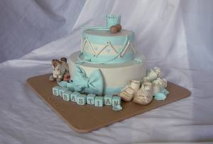 Vintage drum cake with shoes and rocing horse - Cake by Trine Skaar