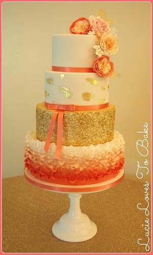 Coral Keely Wedding Cake - Cake by LucieLovesToBake