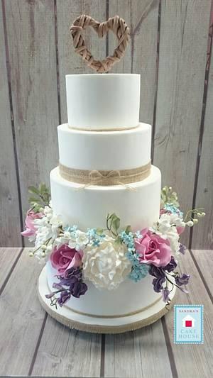 Summer Flowers Wedding Cake - Cake by Sandra's Cake House