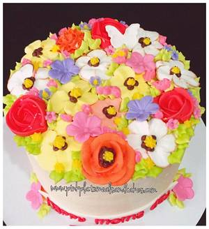 Mothers' day 2016 floral buttercream cake - Cake by Pink Plate Meals and Cakes