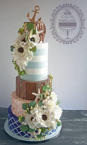 Elegant Nautical Wedding Cake - Cake by Pamela Jane