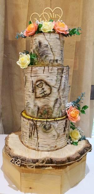 Silver birch wedding cake - Cake by Katarzyna Rarok