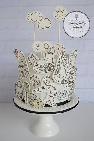 Doodle cake - Cake by Marianne: Tastefully Yours Cake Art