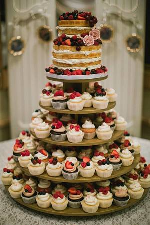 Naked Fruit Cake with Matching Cupcakes - Cake by Cake! By Jennifer Riley
