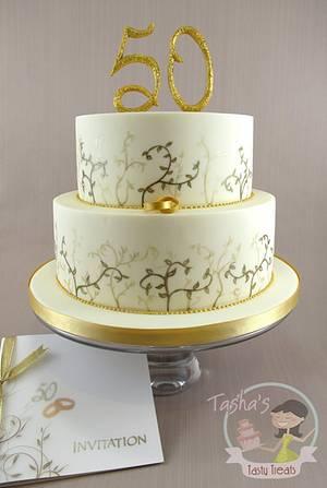 Hand Painted Golden Wedding Cake - Cake by Natasha Shomali