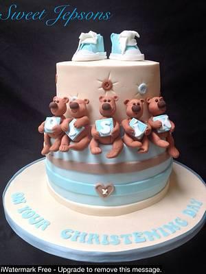 Cute Teddies - Oisin's christening cake  - Cake by Kazza