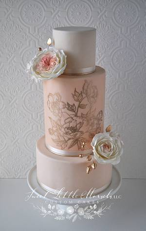 Blush Pink and Gold Wedding Cake - Cake by Stephanie