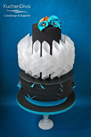 Modern Wafer Paper Design - Cake by KuchenDiva