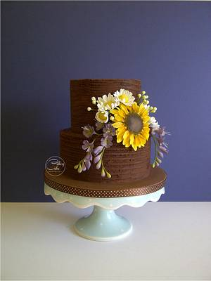 Sunflower & Freesias - Cake by CakeyCake