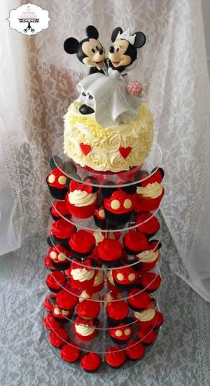 Minnie & Mickey Mouse Cupcake Tower - Cake by Melissa's Cupcakes