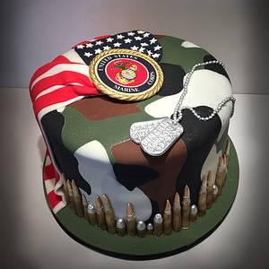 Marine/Camo/American Flag Birthday Cake - Cake by Dani