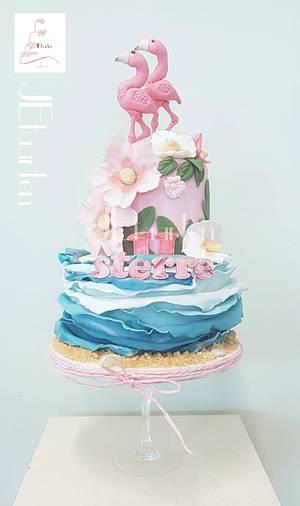 Summer flamingo birthday cake - Cake by Judith-JEtaarten