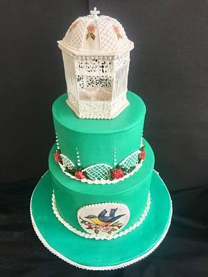Royal icing gazebo cake  - Cake by Archana