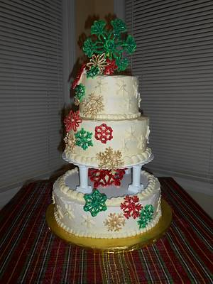 Christmas Snowflakes - Cake by RHLadyCupCake
