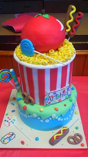 Colourful Carnival Cake - Cake by JojosCupcakeMadness